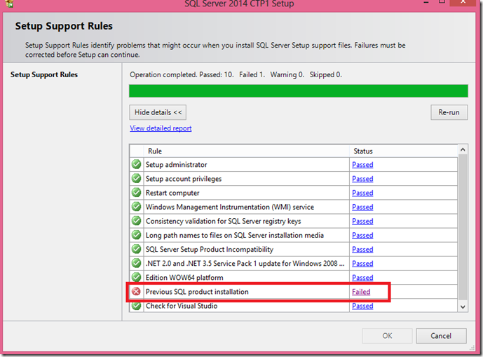 A SQL product other than SQL Server 2014 CTP1 is detected
